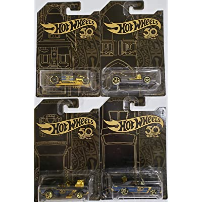 Hot Wheels 50th Anniversary Black & Gold Collection 1:64 - Bone Shaker, Twin Mill, Rodger Dodger & Dodge Dart Set of 4 Diecast Model Car by Hotwheels: Toys & Games