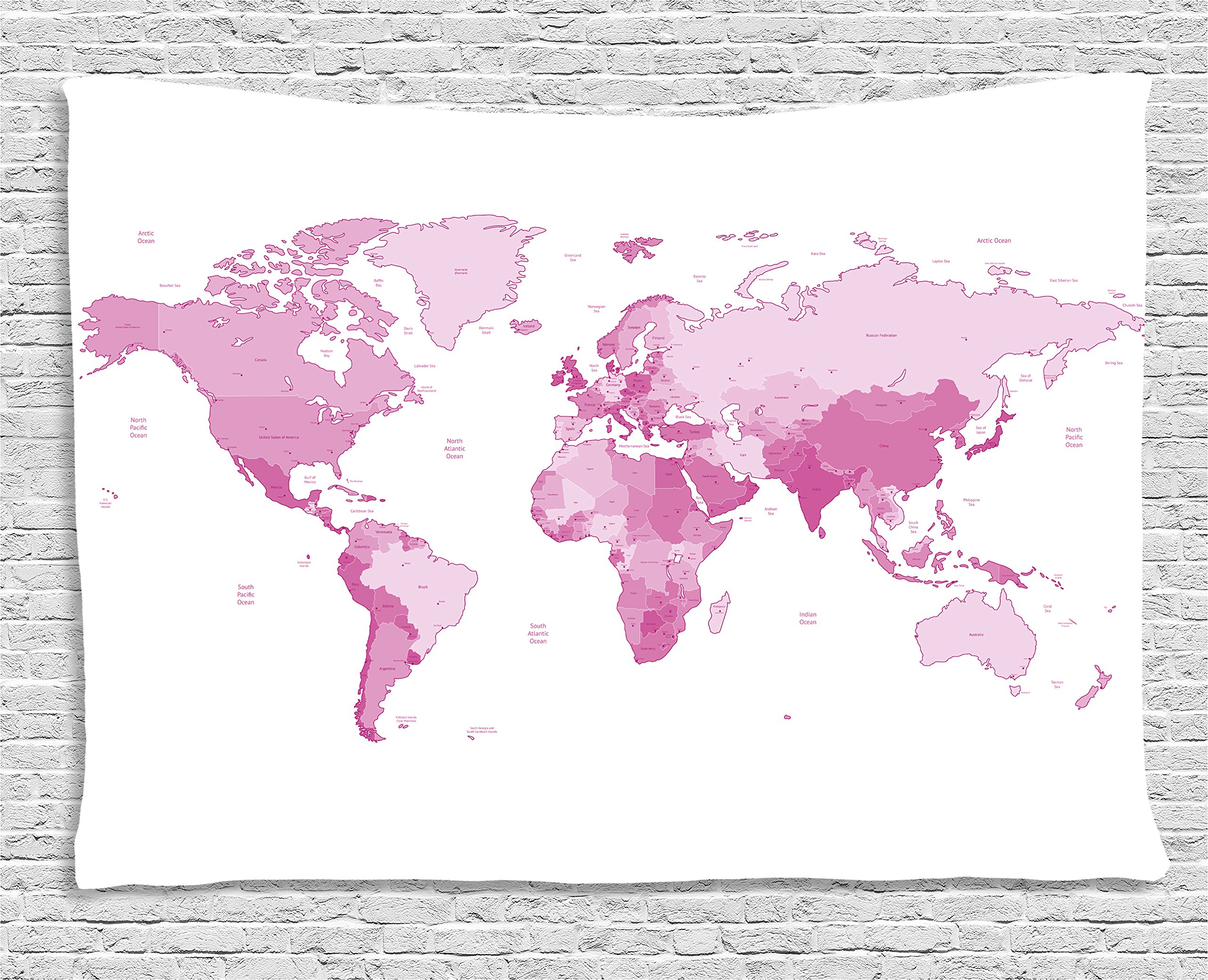 Ambesonne Pale Pink Tapestry, Cute World Map Continents Island Land Pacific Atlas Europe America Africa, Wall Hanging for Bedroom Living Room Dorm, 60 W X 40 L inches, White Pale Pink