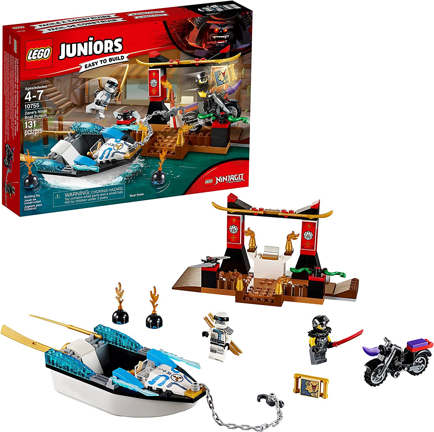 LEGO Juniors/4+ Zane's Ninja Boat Pursuit 10755 Building Kit (131 Piece)