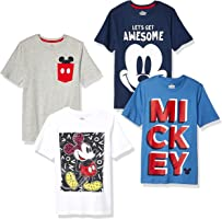 Spotted Zebra by Disney - Boys' Toddler & Kids Mickey Mouse 4-Pack Short-Sleeve T-Shirts