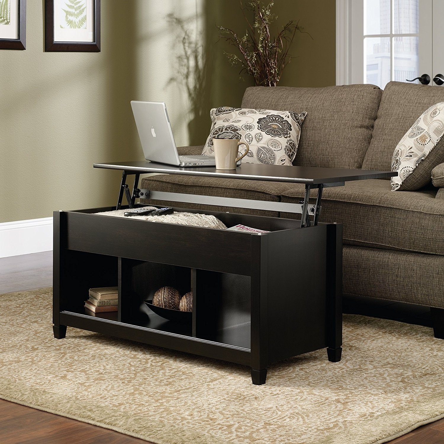Best Quality Low Coffee Table With Hidden Lift Top and Lower Storage Compartment For Contemporary Home And Living Room (Black) by F-D-S