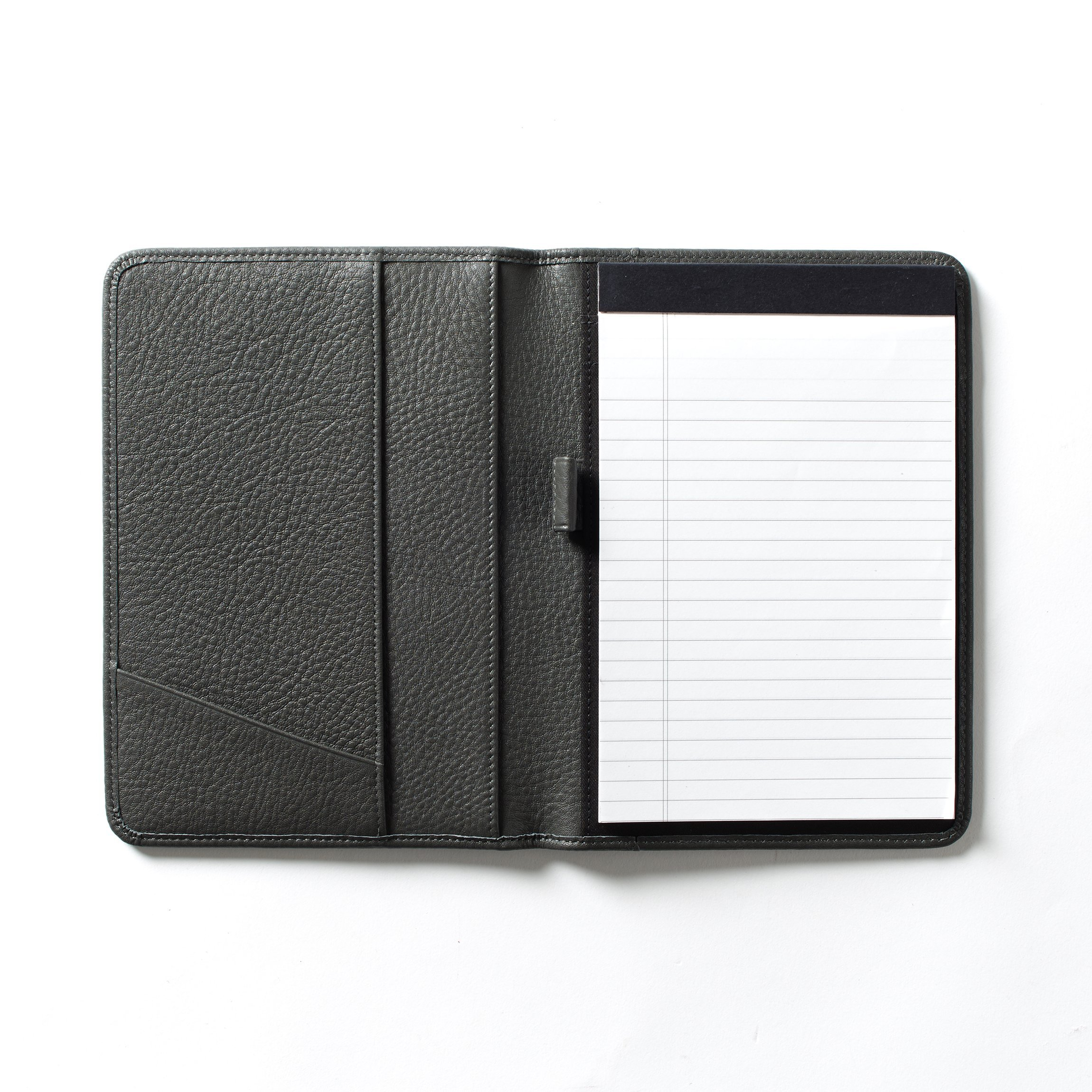 Leatherology Junior Padfolio with Pen Loop - Full Grain Leather Leather - Charcoal (gray) by Leatherology (Image #1)