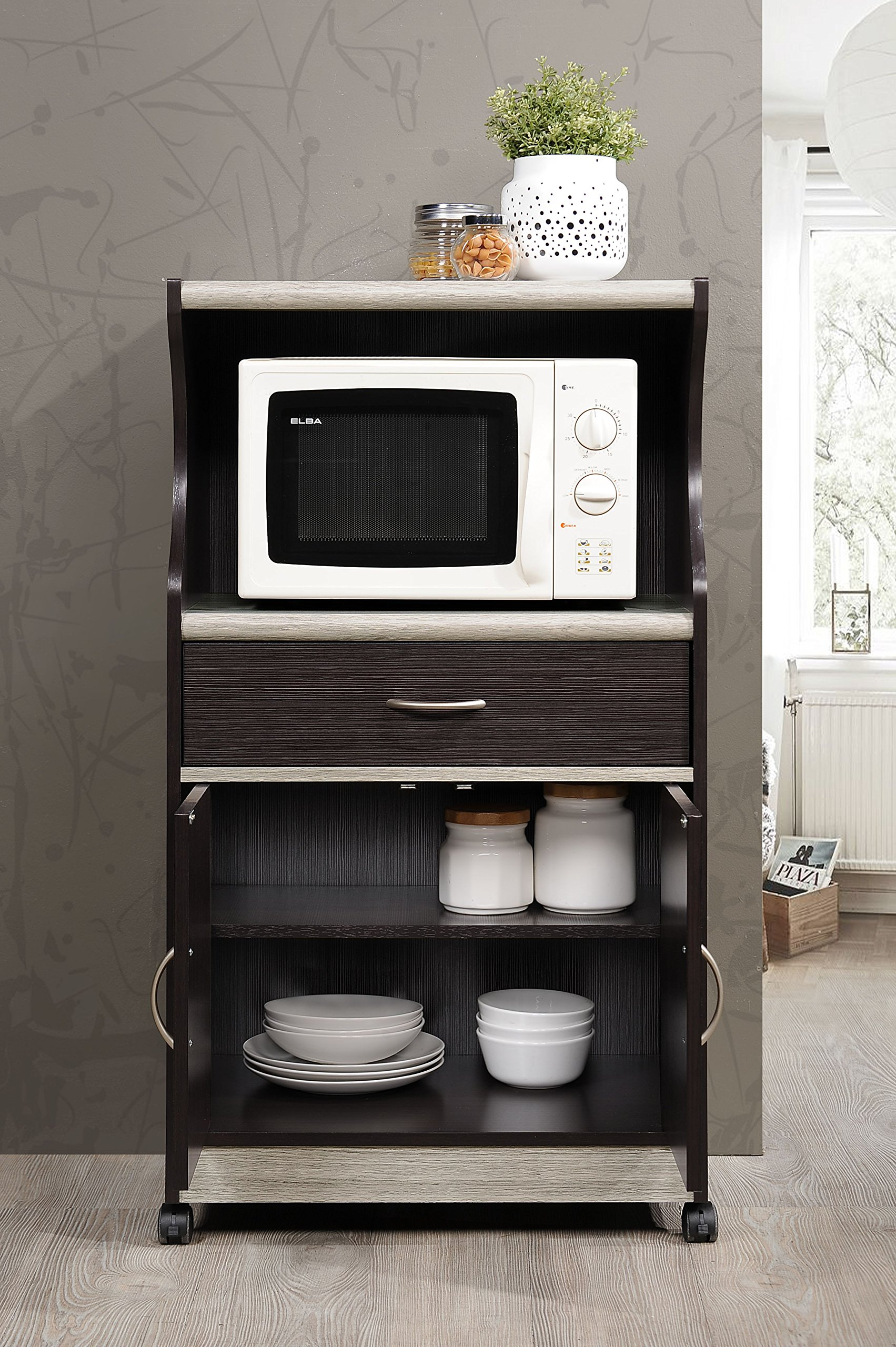 Hodedah Microwave Cart with One Drawer, Two Doors, and Shelf for Storage, Chocolate by HODEDAH IMPORT (Image #4)