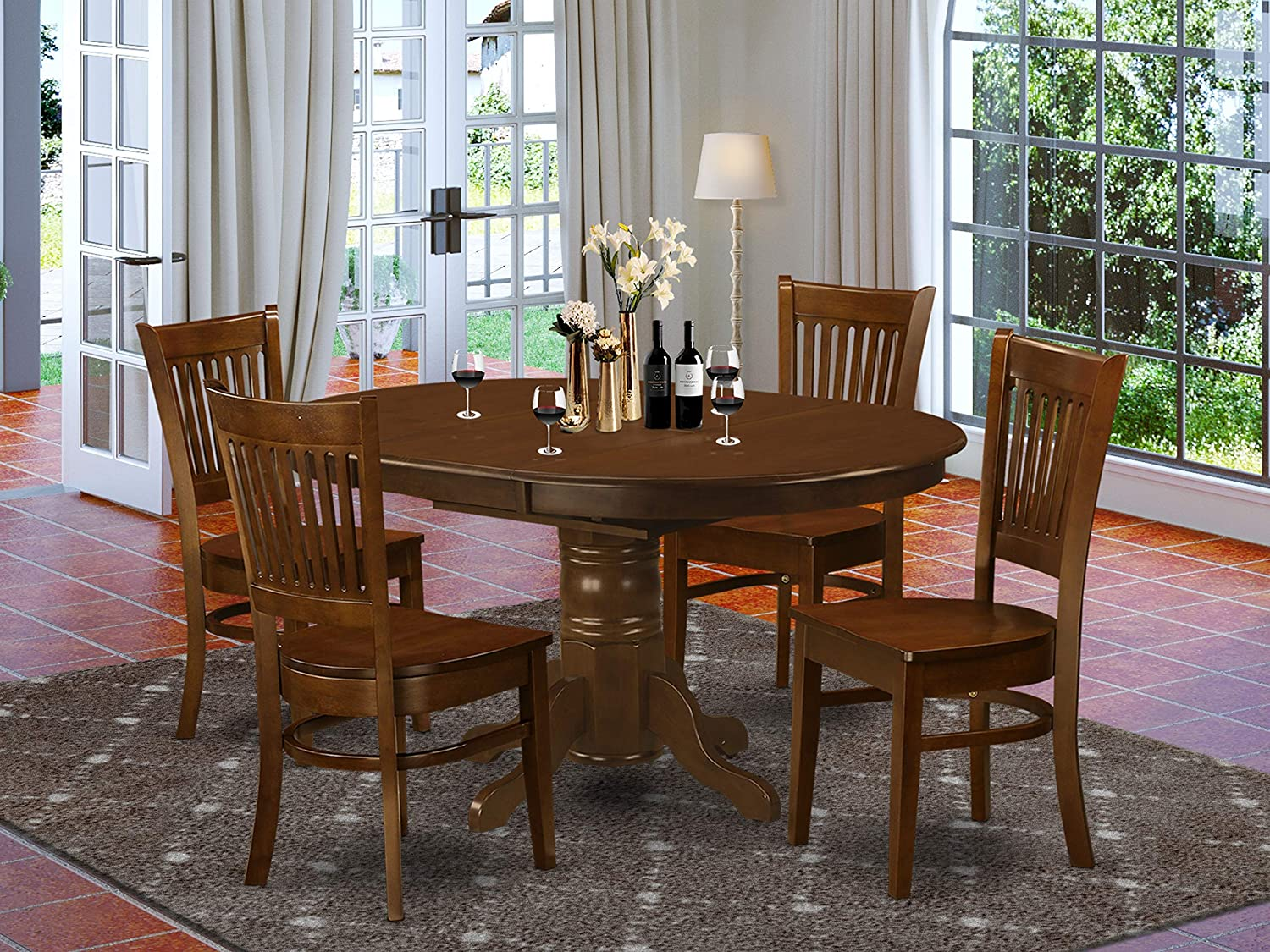 Amazon Com 5 Pc Set Kenley Dining Table With A Leaf And 4 Wood Kitchen Chairs Table Chair Sets