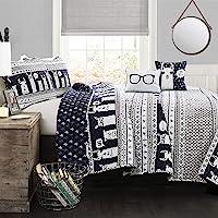 Lush Decor Llama Striped Quilt Reversible 5 Piece Kids Bedding Set, Twin, Navy