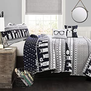 Lush Decor Llama Striped Quilt Reversible 5 Piece Kids Bedding Set, Full Queen, Navy