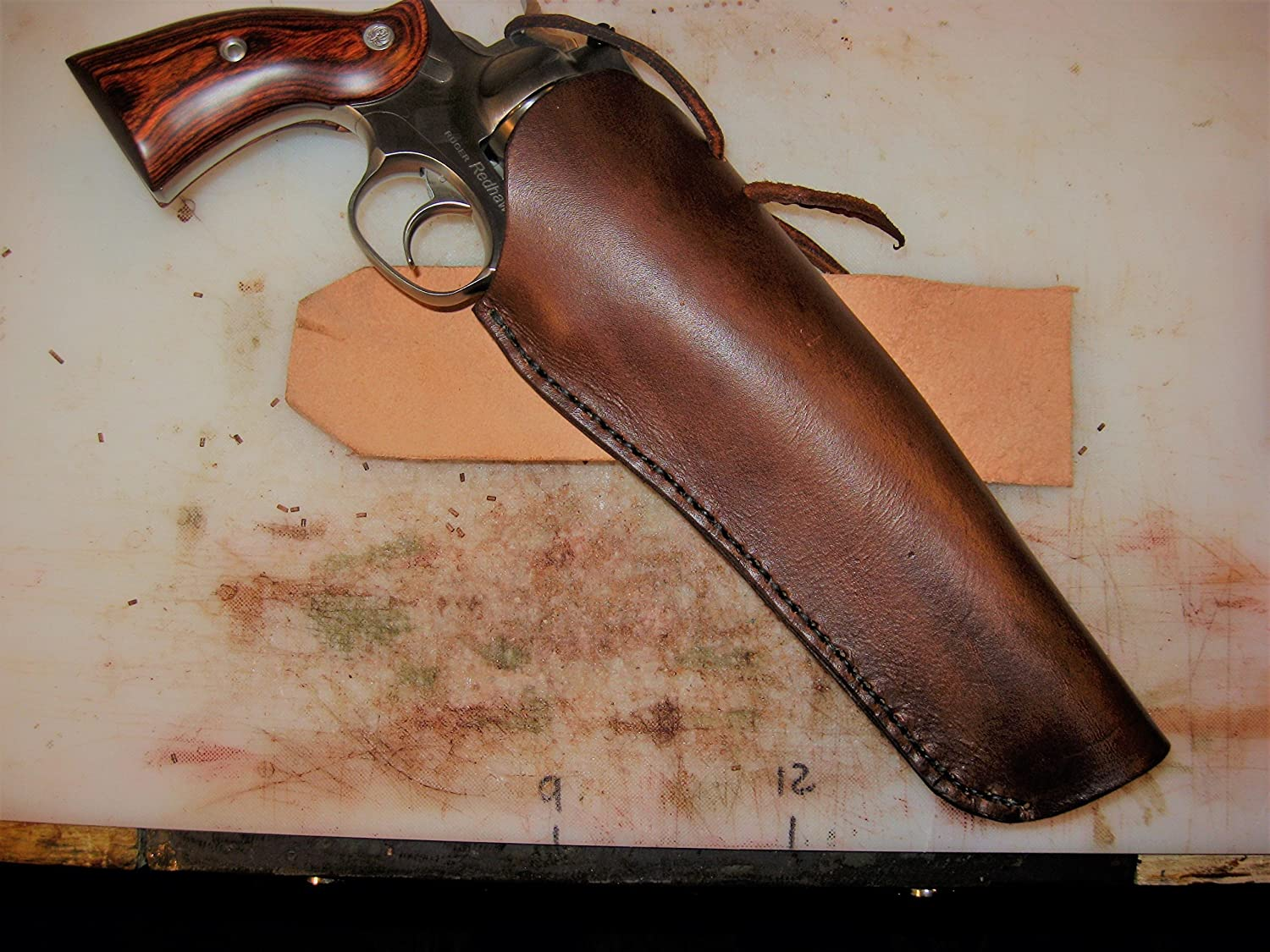 Western Leather Cross Draw Revolver Holster L/H or R/H for 4-1/2