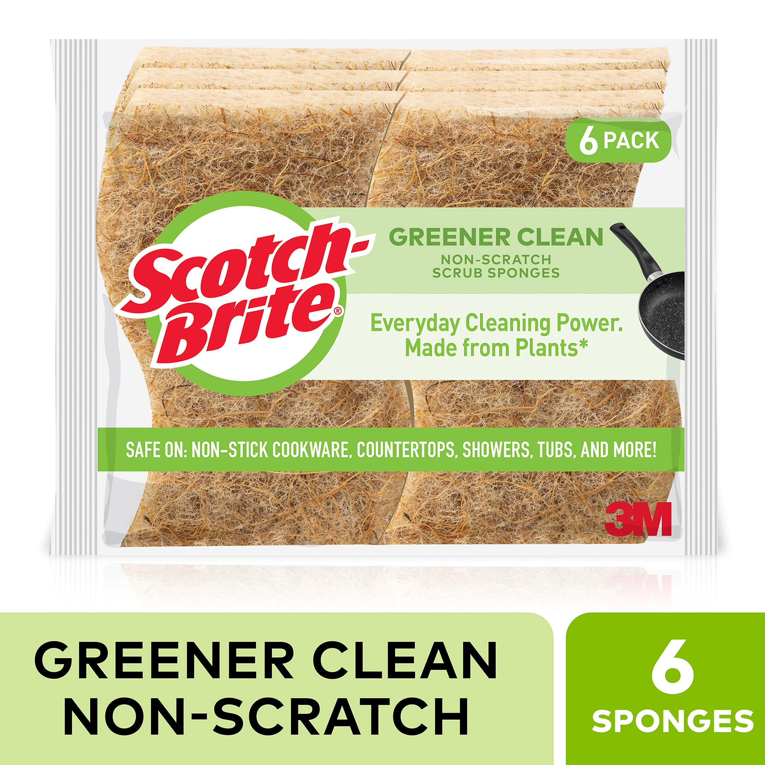 Scotch-Brite Greener Clean Non-Scratch Scrub Sponges, Made from Plants, Cleans Fast without Scratching, Stands Up to Stuck-on Grime, 6 Scrub Sponges