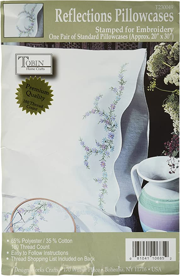 Pillowcases to Embroider or Paint....Stamped Embroidery....Fairway Needlecraft....Springhouse Quilters
