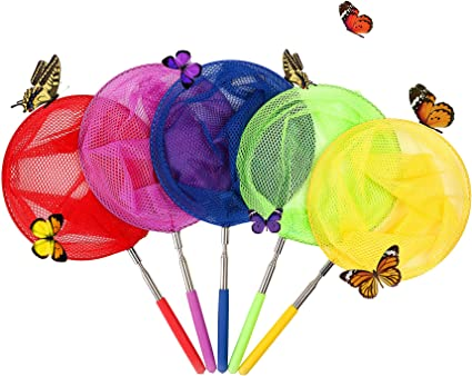 4 Pack Kids Telescopic Butterfly Fishing Nets Transser Telescopic Net Collapsible Telescopic Catching Insects Bugs Fish Ladybird Nets Outdoor Tools Extendable 34 Inch