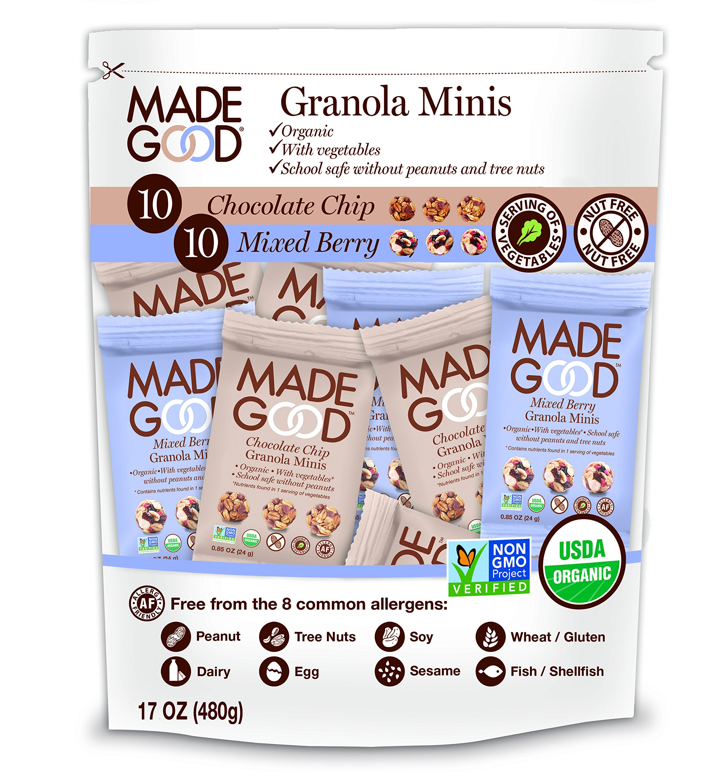 Made Good Minis- Mixed Flavors Pack of 20 - 10 Chocolate Chip & 10 Mixed Berry