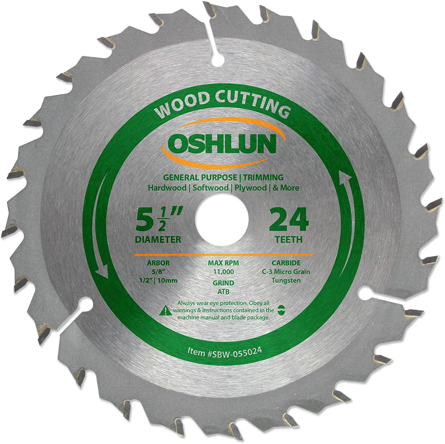 Oshlun sbw 055024 5 12 inch 24 tooth atb general purpose and oshlun sbw 055024 5 12 inch 24 tooth atb general purpose and trimming saw blade with 58 inch arbor 12 inch and 10mm bushings circular saw blades greentooth Image collections