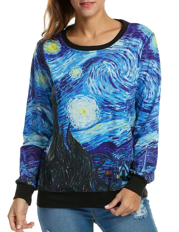ACEVOG Women's 3D Galaxy Print Crew Neck Pullover Sweatshirts Sports Sweater
