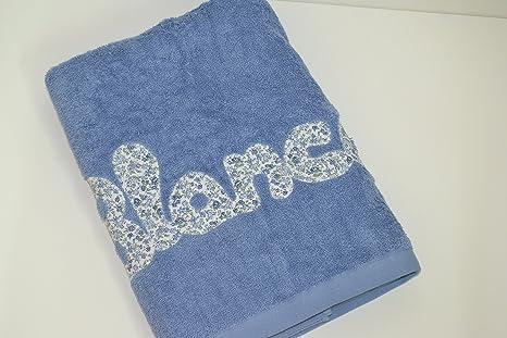 Toalla personalizada con nombre 100% algodón (Azulón)