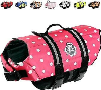 Paws Aboard Dog Life Jacket, Neoprene Dog Life Vest for Swimming and Boating - Pink Polka Dot