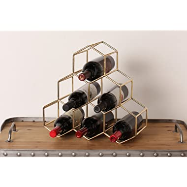 Kate and Laurel Merl Countertop Lightweight Metal Wine Rack Holds 6 Wine Bottles, Gold