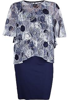 Doris Streich Damen Jerseykleid mit Grafischem Überwurf Weite Ärmel ... e8e079c348