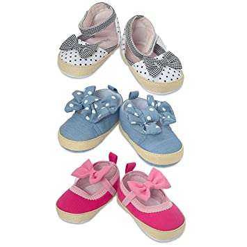 030b66a45 3 Pack Newborn Girl Shoes- Assorted Baby Girl Casual Shoes- Mary Jane Baby  Shoes