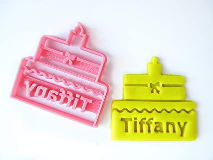 Birthday Wedding Cake Custom Cookie Cutter Personalized With Name Initials 3 Inches