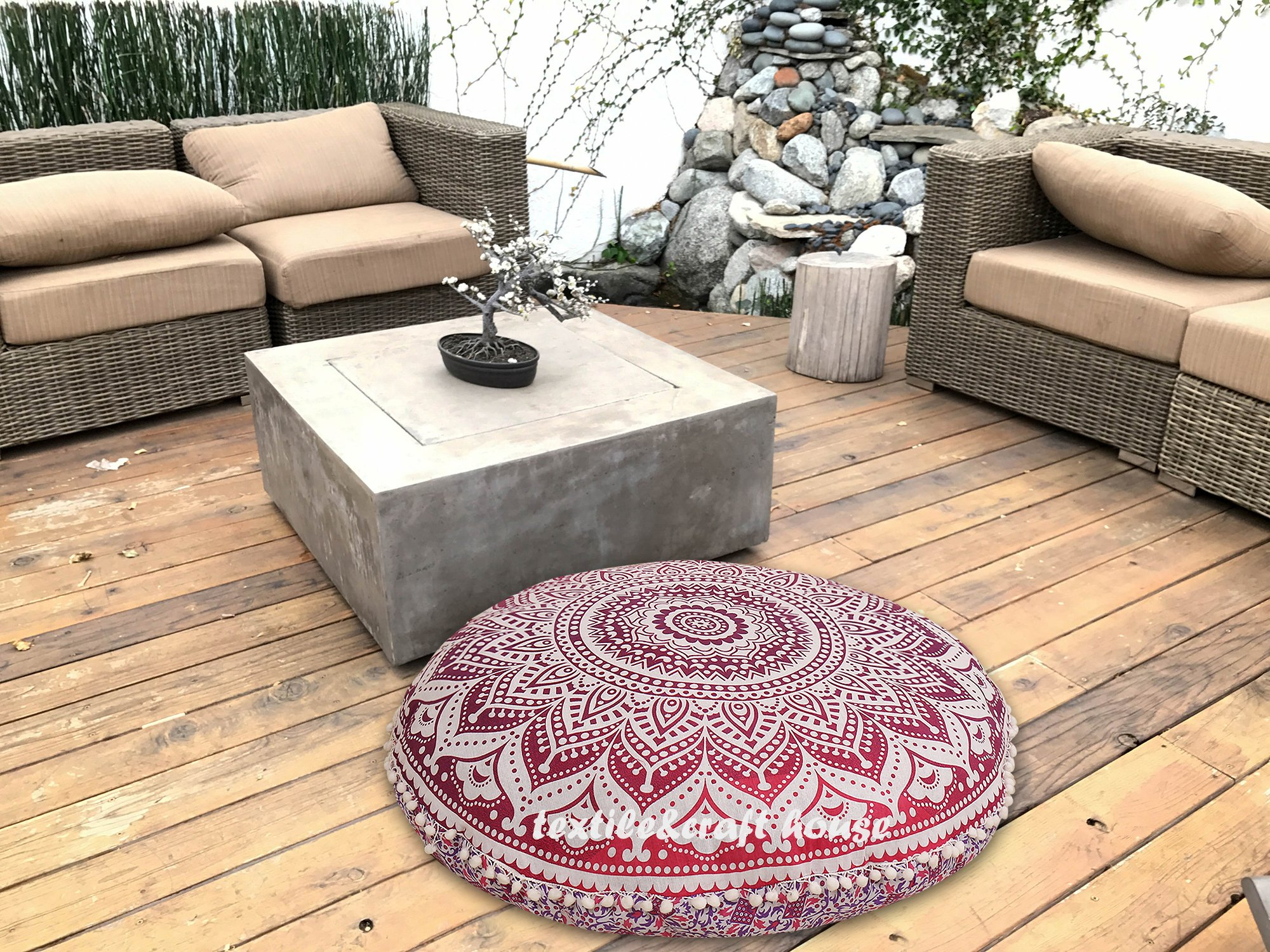 TEXTILE&CRAFT HOUSE Decorative Mandala Round Floor Pillow Cushion Cover Pouf Cover Indian Bohemian Ottoman Poufs Cover Pom Pom outdoor Cushion Cover (PINK) by TEXTILE&CRAFT HOUSE