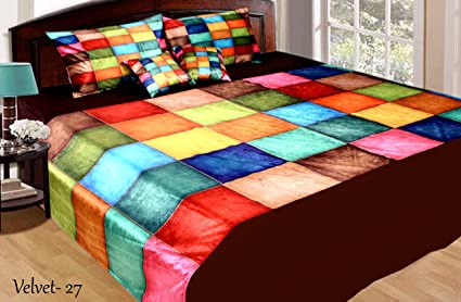 332481963d Fresh From Loom Velvet King Size Double Bedsheet With 2 Pillow Cover & 2  Cushion