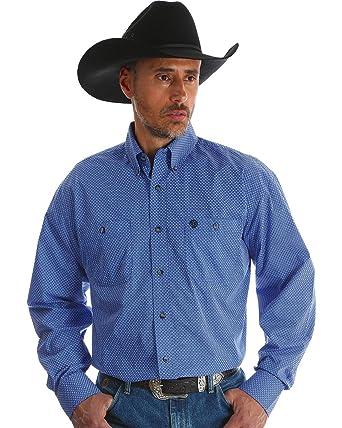 8fa260b40 Wrangler Men's George Strait Blue Print Long Sleeve Western Shirt Blue Small