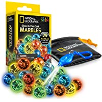 NATIONAL GEOGRAPHIC Marbles Refill Pack – 25 Glass Marbles That Glow in The Dark, Includes Storage Pouch & UV Keychain…