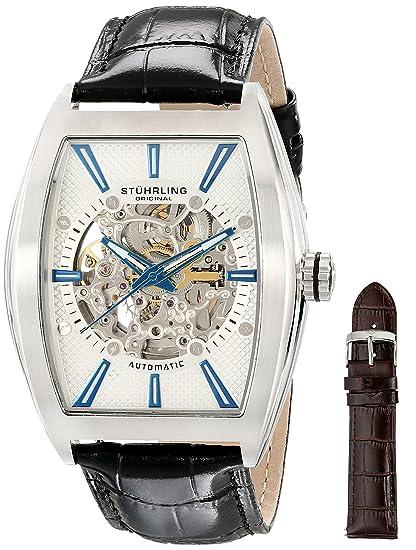 Stuhrling Original 182C3.33152 - Reloj analógico para hombre, correa de cuero color negro: Amazon.es: Relojes