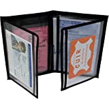 MAMJACK® - Porte Papier Voiture en Cuir - Format 4 Volets - étui Carte Grise, permis de Conduire, Carte d'identité, Assurance, Cartes, très Complet, Cuir Souple pour Homme ou Femme (Noir)