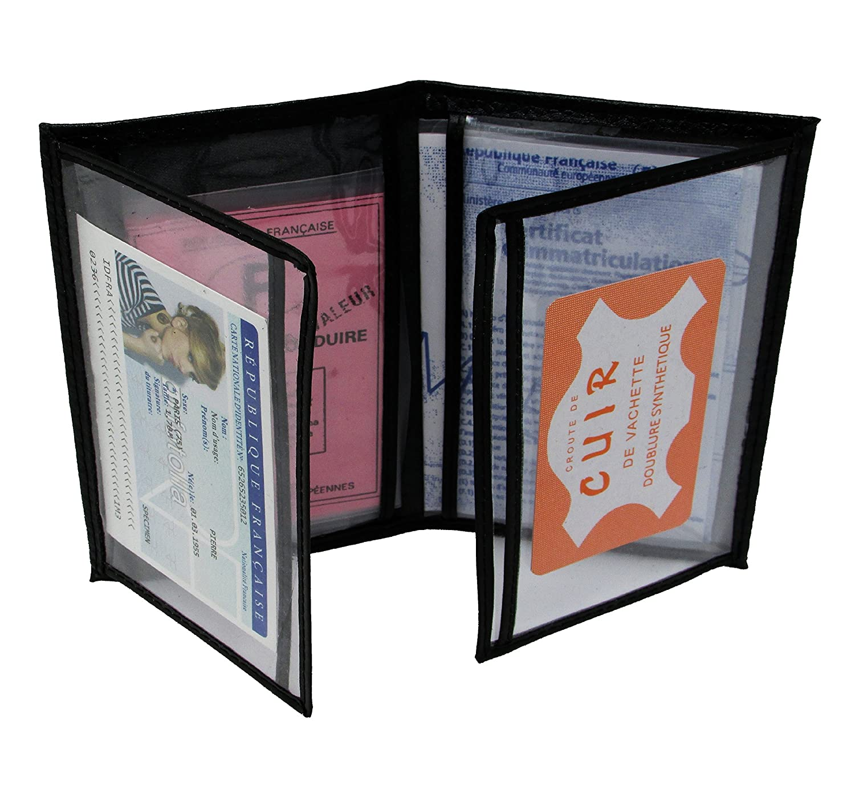 MAMJACK® - Porte papier voiture en cuir - format 4 volets - étui carte grise, permis de conduire, carte d'identité, assurance, cartes, très complet, cuir souple pour homme ou femme (noir) carte d' identité
