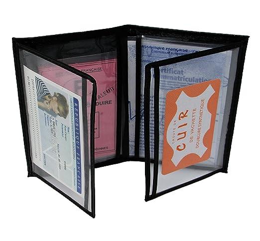 MAMJACK® - Porte papier voiture en cuir - format 4 volets - étui carte grise, permis de conduire, carte d