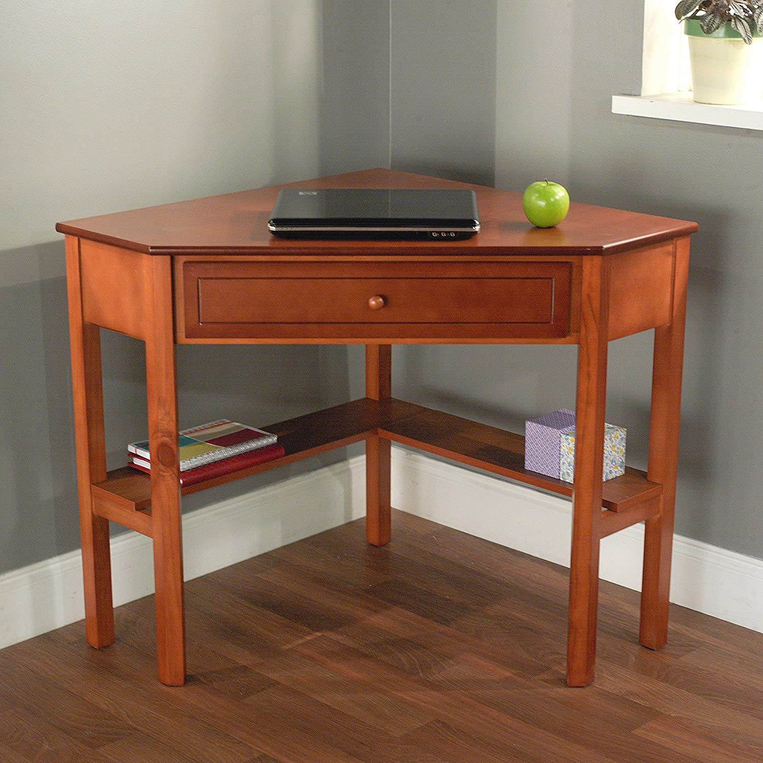 Space-Saving Wooden Corner Writing Desk, Suitable for Home or Office with  small spaces, Classic and Antique Design, Best for Computer/Laptop use, ...
