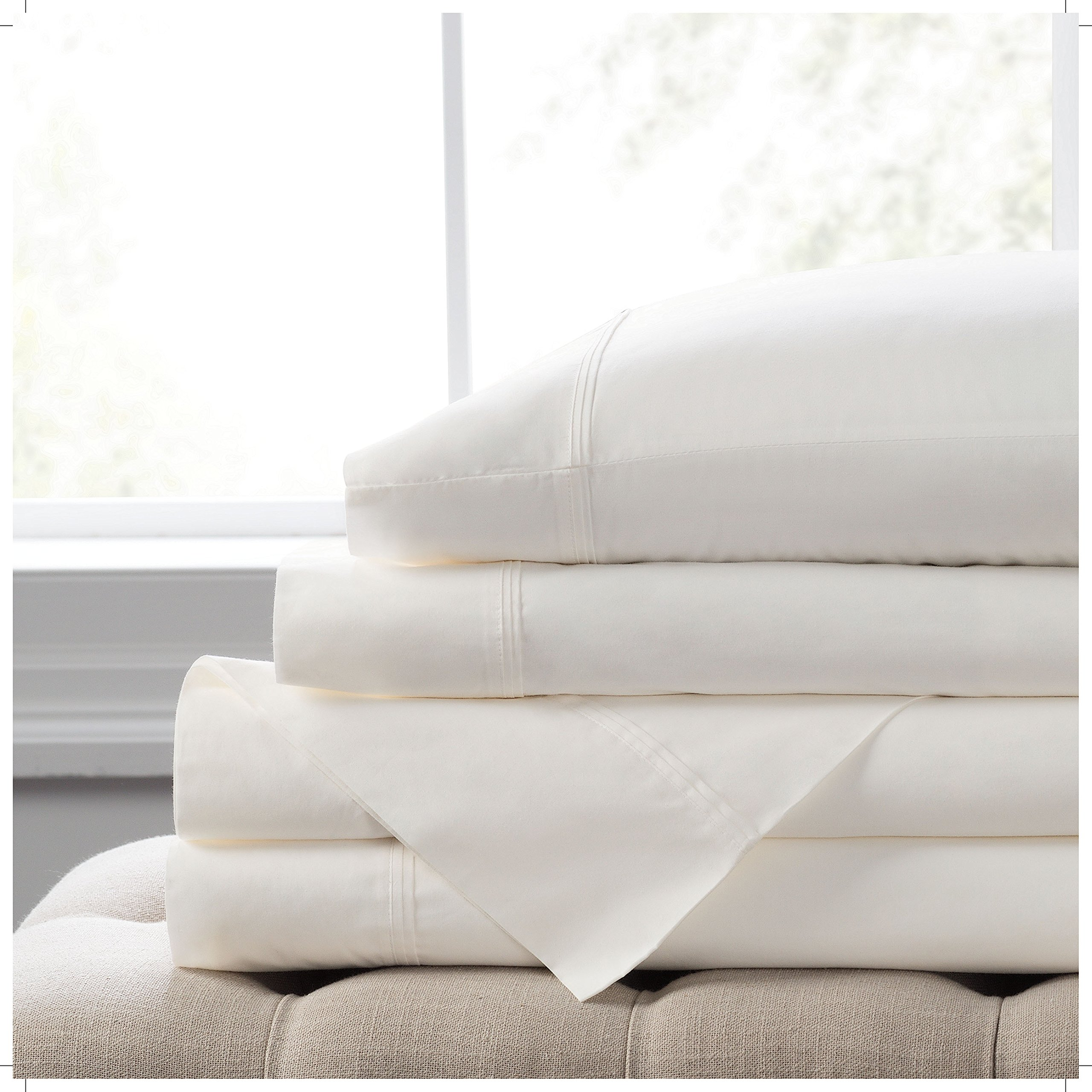 """Elizabeth Arden Light-Weight 100% Long-Staple Cotton Percale 4-Piece Sheet Set - Natural Pure 300 Thread Count – Crisp & Cool – Deep Fitted Pocket Fits Mattress up to 18"""" - California King - White"""