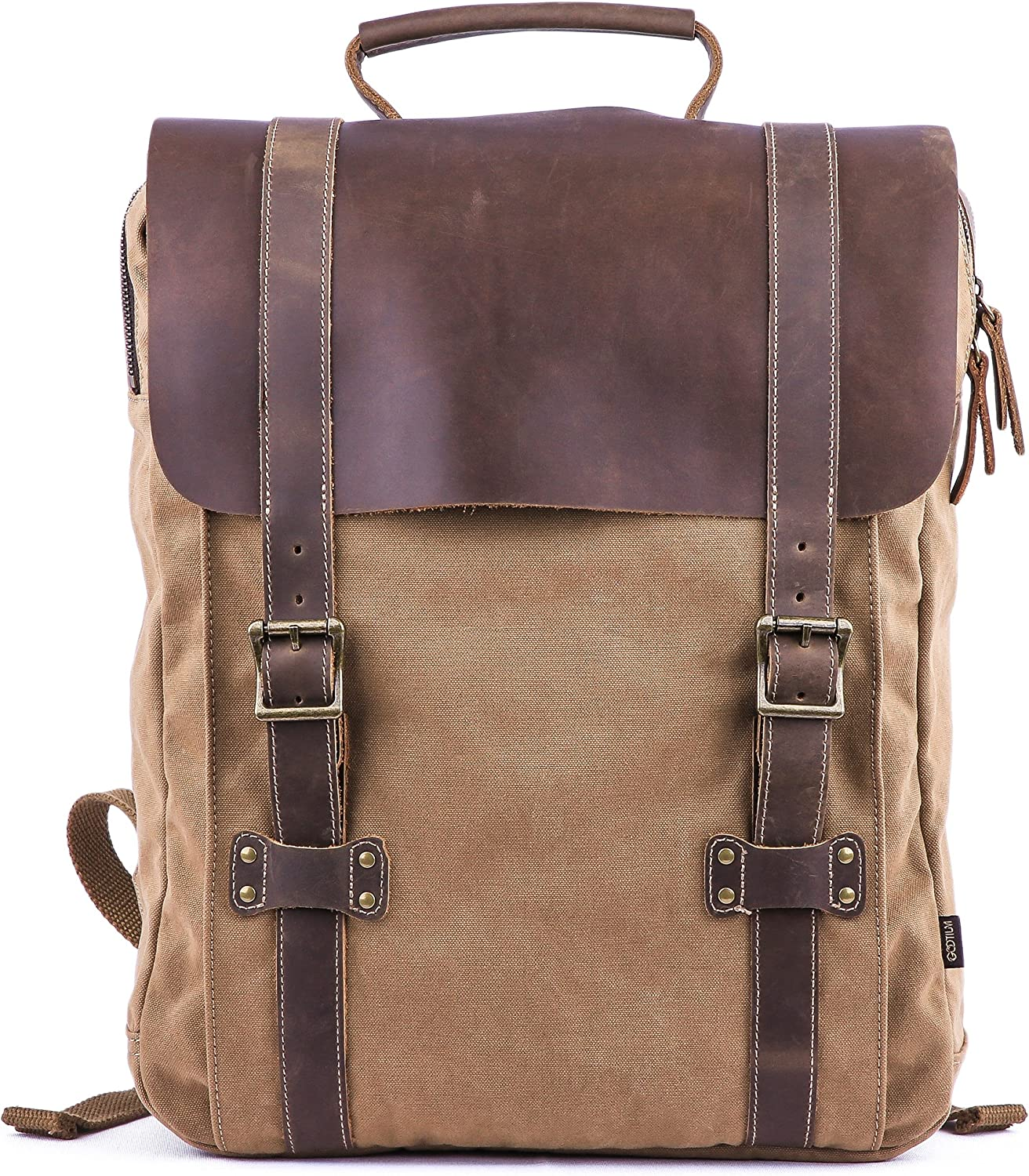 Gootium Leather Canvas Backpack - Vintage Travel Day Pack Unisex Rucksack, Coffee