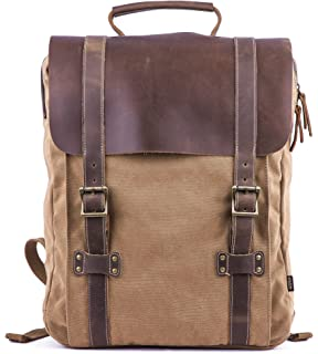7d95080db669 Gootium Leather Canvas Backpack Vintage Rucksack Unisex 15.6