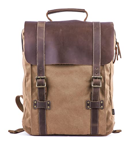 e1a9e95a Gootium Leather Canvas Backpack - Vintage Rucksack 15.6