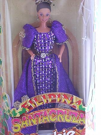 filipina santa cruzan le reyna fe barbie in beaded purple dress with crosses 1997 - Barbie Fe