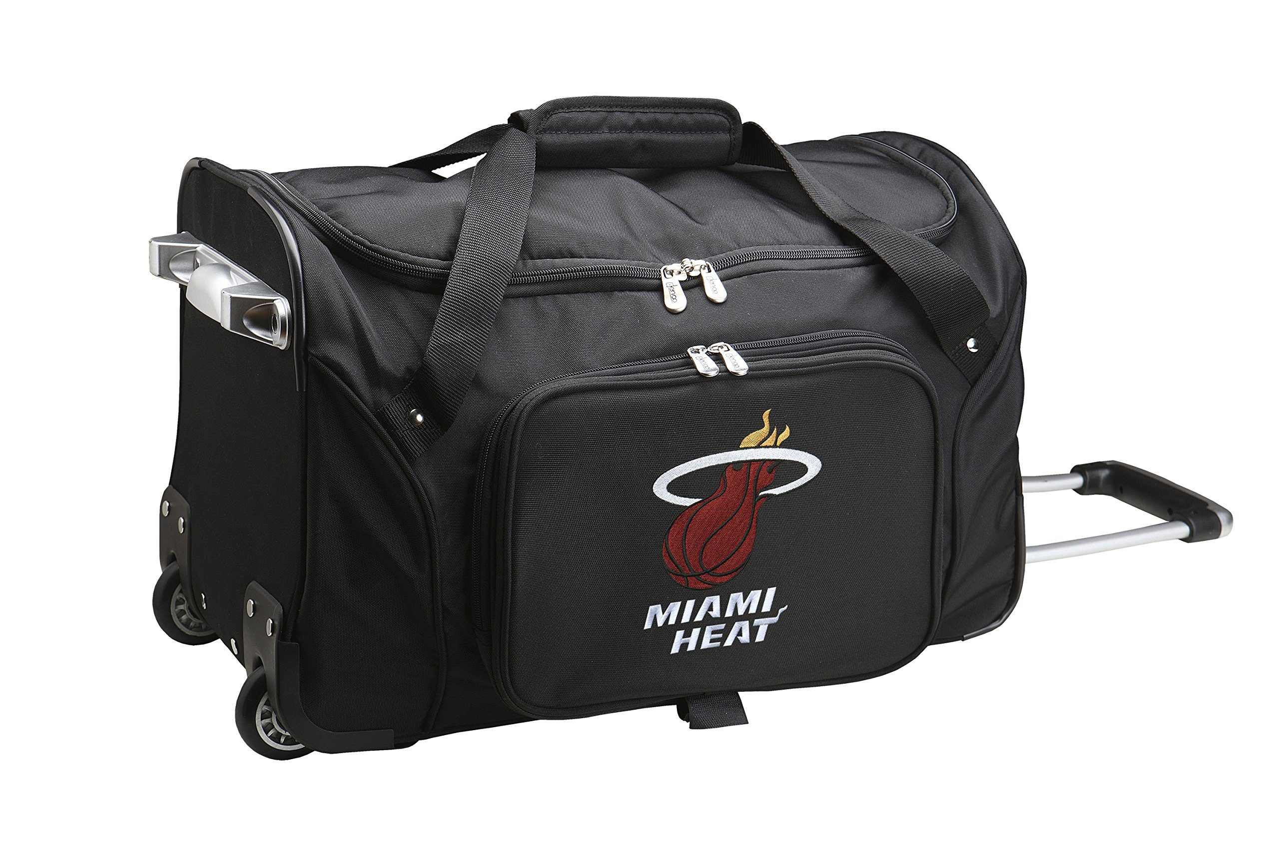 NBA Miami Heat Wheeled Duffle Bag, 22 x 12 x 5.5'', Black