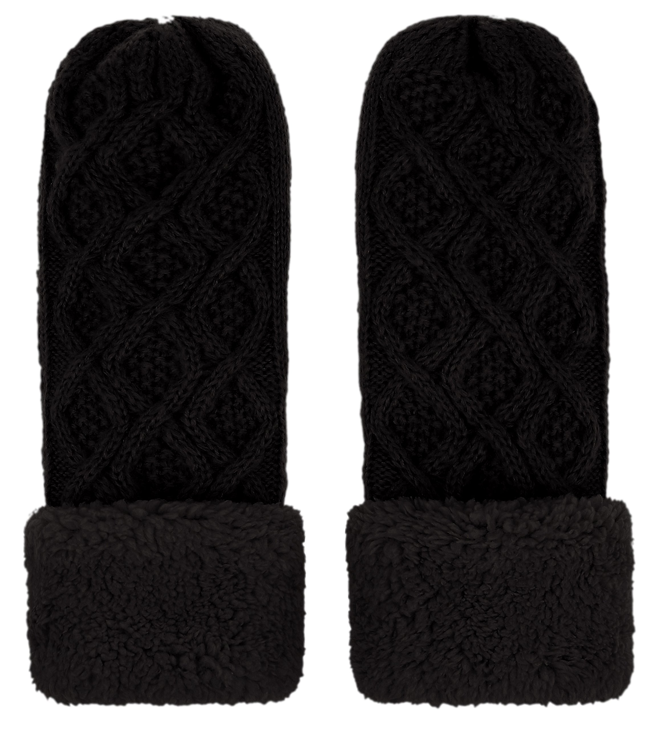 IL Caldo Womens Knitted Mittens Winter Twist Thick Plush Edge Warm Outdoor Gloves,Black