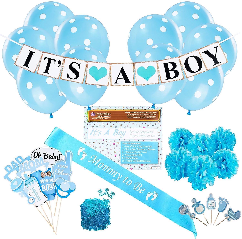 Amazon.com: Baby Shower Party Decorations Kit: It\'s A Boy Blue Theme ...