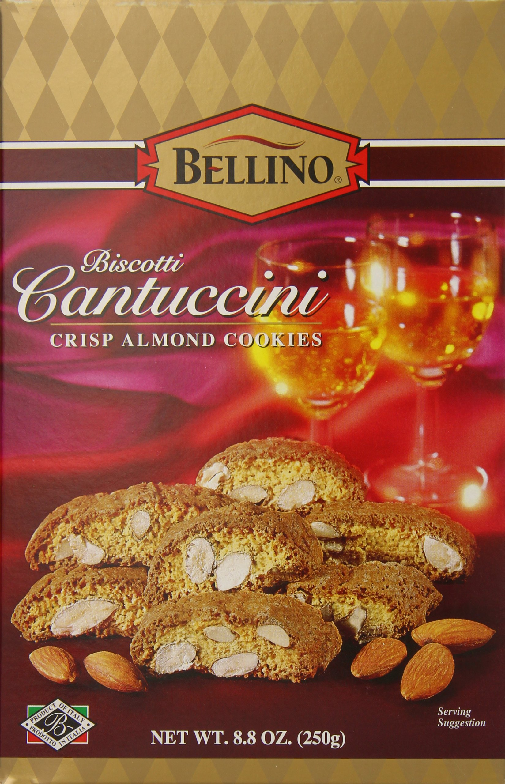 Bellino Biscotti Cantuccini Crisp Almond Cookies, 8.8 Ounce Box