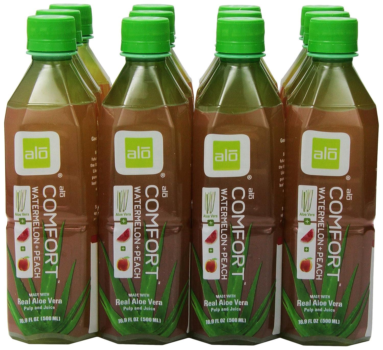 Amazon.com : ALO Comfort Aloe Vera Juice Drink, Watermelon Plus Peach, 16.9  Fl. Oz (Pack of 12), Cane-Sugar Sweetened, Aloin-Free, No Artificial  Flavors ...