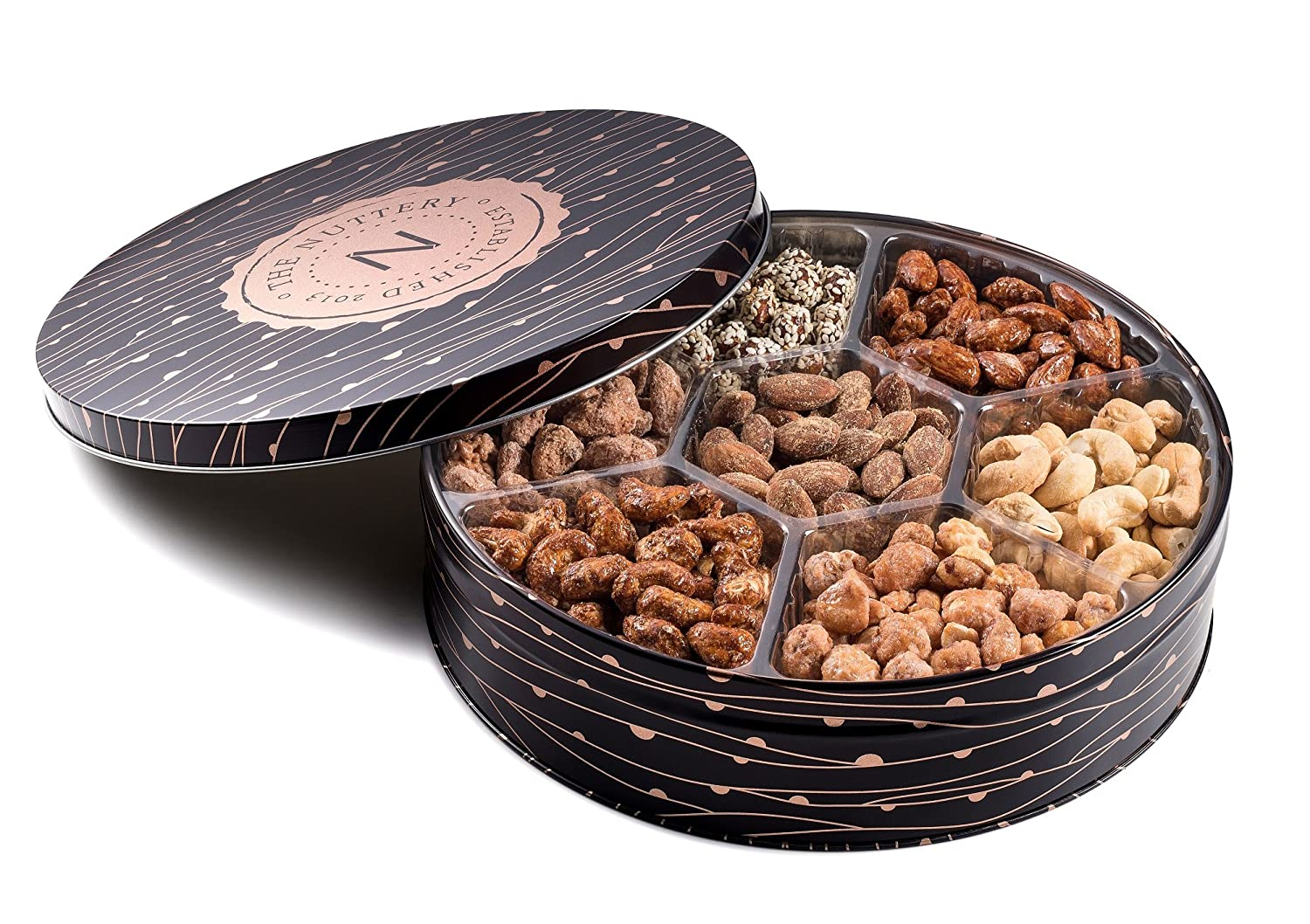 Premium Quality 7 Section Nuts Gift Tin Includes Gourmet Healthy Food Snacks Of Fresh Dry Roasted Salted and Sweet Mixed Nuts Perfect Holiday and Corporate Basket