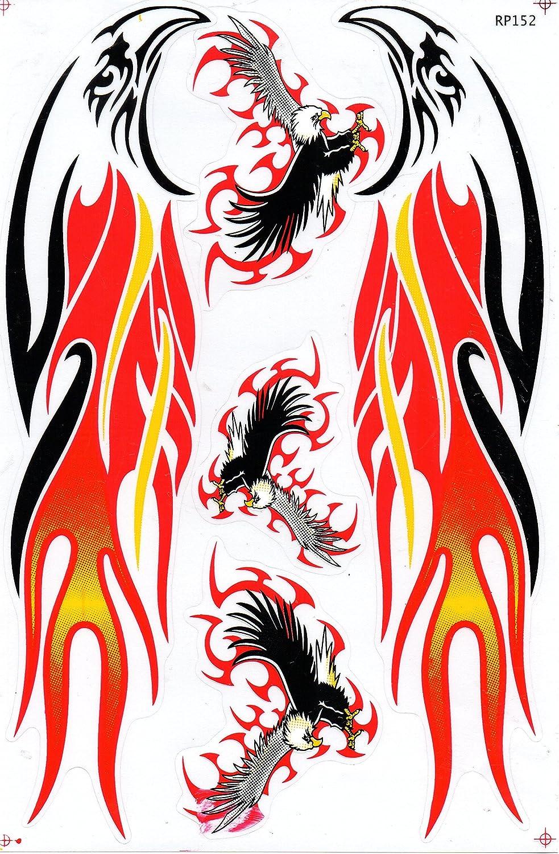 by soljo Dragon orange red Fire Flame BIG Sticker Decal Tuning 1 Sheet 53 cm x 17 cm for Sports Skateboard Bicycle Motorbike Car etc