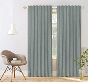 Native Fab Pure Slub Cotton Window Curtains 2 Panels 50x84, Curtains for Bedroom Living Room Kitchen, Farmhouse Curtains 84 Inch Length, Olive Green