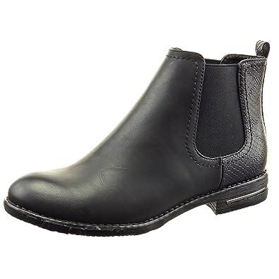 Bottine Chaussure Montante Bloc Chelsea Peau Noir de 2 Serpent CM Métallique Talon Boots Mode Sopily Femmes 5 y08wNvmnO