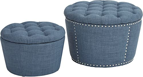 Eco Friendly Tufted 2 Piece Storage Ottoman Set New Beautiful Modern Home Accent Blue