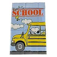 "PEANUTS SNOOPY DRIVES SCHOOL BUS FLAG~SIZE 12"" x 18""~NEW"