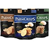 ParmCrisps Variety Pack, Original, Jalapeno, Sesame Flavor, Gourmet Snack Made From 100% Real Parmesan Cheese, Wheat Free, Gluten Free, Sugar Free, 1.75oz Bag, Pack of 3
