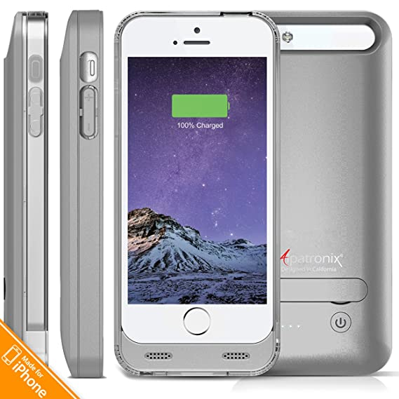 online store 2659a 6a1b9 iPhone 5S Battery Case, iPhone SE Battery Case, Alpatronix [BX120 - MFi  Apple Certified] 2400mAh External iPhone 5 Charger Case Removable  Rechargeable ...
